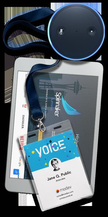 Conference lanyard, Echo Dot and iPad